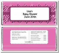 Zebra Print Baby Pink - Personalized Baby Shower Candy Bar Wrappers