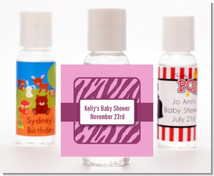 Zebra Print Baby Pink - Personalized Baby Shower Hand Sanitizers Favors