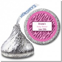 Zebra Print Baby Pink - Hershey Kiss Baby Shower Sticker Labels