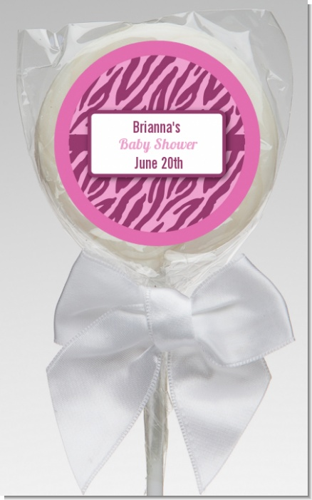 Zebra Print Baby Pink - Personalized Baby Shower Lollipop Favors