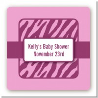 Zebra Print Baby Pink - Square Personalized Baby Shower Sticker Labels