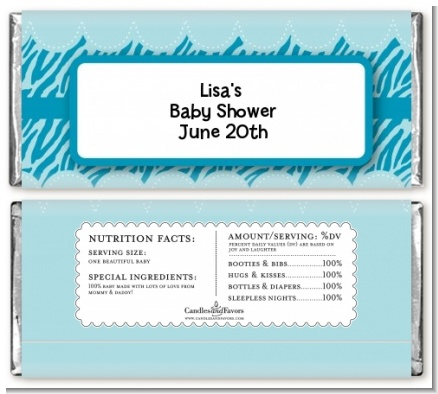 Zebra Print Blue - Personalized Baby Shower Candy Bar Wrappers