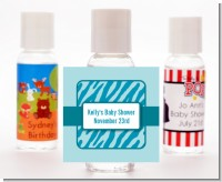 Zebra Print Blue - Personalized Baby Shower Hand Sanitizers Favors