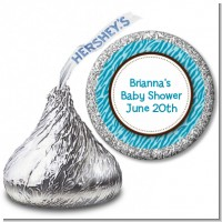 Zebra Print Blue - Hershey Kiss Baby Shower Sticker Labels