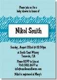 Zebra Print Blue - Baby Shower Invitations