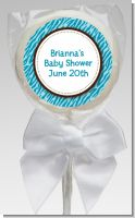 Zebra Print Blue - Personalized Baby Shower Lollipop Favors