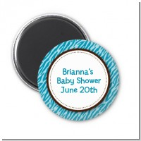 Zebra Print Blue - Personalized Baby Shower Magnet Favors