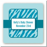 Zebra Print Blue - Square Personalized Baby Shower Sticker Labels