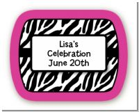 Zebra Print Pink - Personalized Birthday Party Rounded Corner Stickers