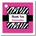 Zebra Print Pink & Black - Personalized Birthday Party Card Stock Favor Tags thumbnail
