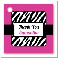 Zebra Print Pink & Black - Personalized Birthday Party Card Stock Favor Tags