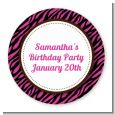 Zebra Print Pink & Black - Round Personalized Birthday Party Sticker Labels thumbnail
