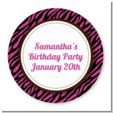 Zebra Print Pink & Black - Round Personalized Birthday Party Sticker Labels