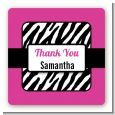 Zebra Print Pink & Black - Square Personalized Birthday Party Sticker Labels thumbnail