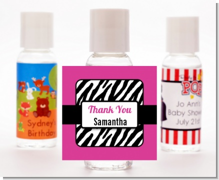 Zebra Print Pink & Black - Personalized Birthday Party Hand Sanitizers Favors