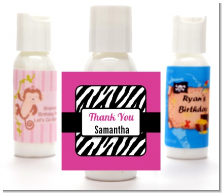 Zebra Print Pink & Black - Personalized Birthday Party Lotion Favors