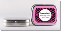 Zebra Print Pink & Black - Personalized Birthday Party Mint Tins