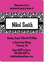 Zebra Print Pink - Bachelorette Party Invitations