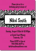 Zebra Print Pink - Birthday Party Invitations