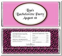 Zebra Print Pink & Black - Personalized Bachelorette Party Candy Bar Wrappers