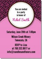 Zebra Print Pink & Black - Bachelorette Party Invitations