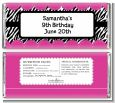 Zebra Print Pink - Personalized Birthday Party Candy Bar Wrappers thumbnail
