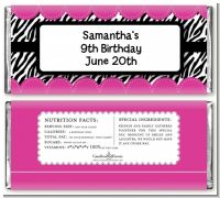 Zebra Print Pink - Personalized Birthday Party Candy Bar Wrappers