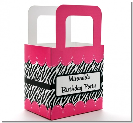 Zebra Print Pink - Personalized Birthday Party Favor Boxes