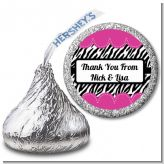 Zebra Print Pink - Hershey Kiss Birthday Party Sticker Labels