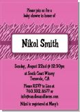 Zebra Print Baby Pink - Baby Shower Invitations