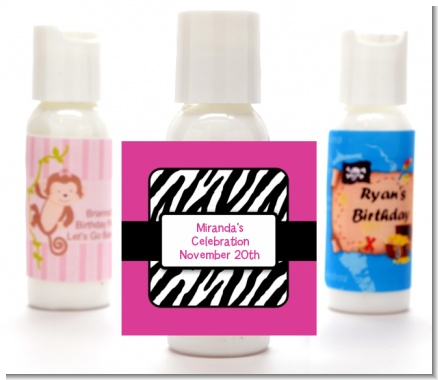 Zebra Print Pink - Personalized Birthday Party Lotion Favors