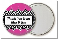 Zebra Print Pink - Personalized Birthday Party Pocket Mirror Favors