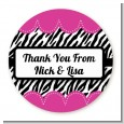 Zebra Print Pink - Round Personalized Birthday Party Sticker Labels thumbnail