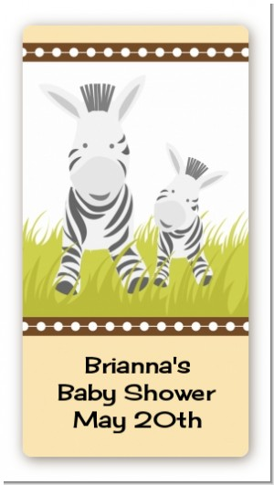 Zebra - Custom Rectangle Baby Shower Sticker/Labels