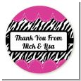 Zebra Print Pink - Round Personalized Sticker Labels thumbnail