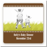 Zebra - Square Personalized Baby Shower Sticker Labels