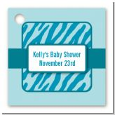 Zebra Print Blue - Personalized Baby Shower Card Stock Favor Tags