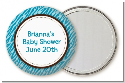 Zebra Print Blue - Personalized Baby Shower Pocket Mirror Favors