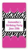 Zebra Print Pink - Custom Rectangle Birthday Party Sticker/Labels