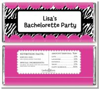 Zebra Print Pink - Personalized Bachelorette Party Candy Bar Wrappers