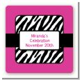 Zebra Print Pink - Square Personalized Birthday Party Sticker Labels thumbnail