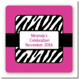 Zebra Print Pink - Square Personalized Birthday Party Sticker Labels