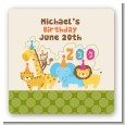 Zoo Crew - Square Personalized Birthday Party Sticker Labels thumbnail