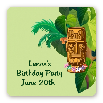 Luau Tiki - Square Personalized Birthday Party Sticker Labels