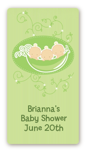 Triplets Three Peas in a Pod Caucasian - Custom Rectangle Baby Shower Sticker/Labels 3 Boys