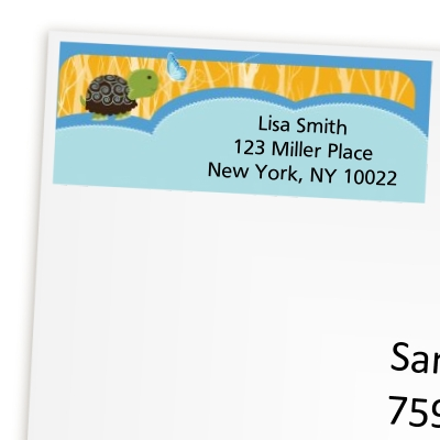 Turtle Blue - Birthday Party Return Address Labels