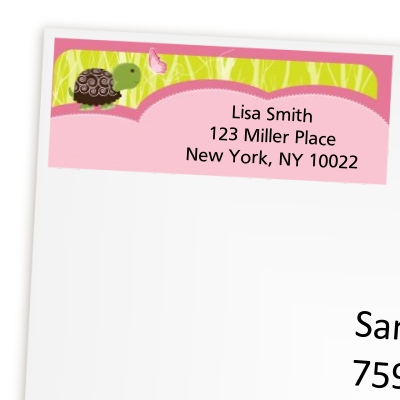 Turtle Girl - Birthday Party Return Address Labels