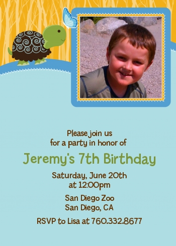 Turtle Blue - Photo Birthday Party Invitations