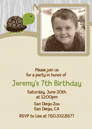 Turtle Neutral - Photo Birthday Party Invitations