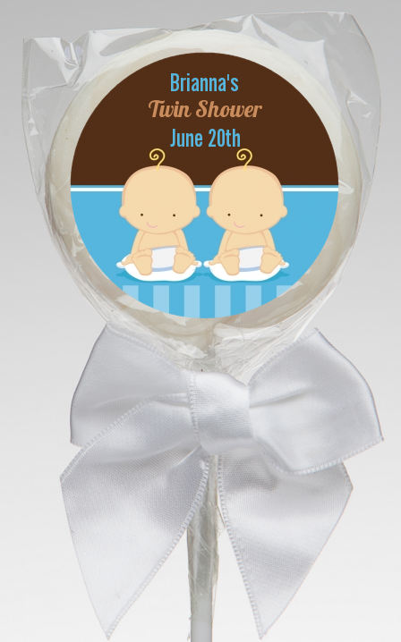 twin baby boys caucasian baby shower lollipop favors twin baby boys